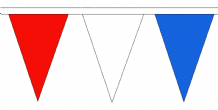 Red White and Blue Traditional 20m 54 Flag Polyester Triangule Flag Bunting
